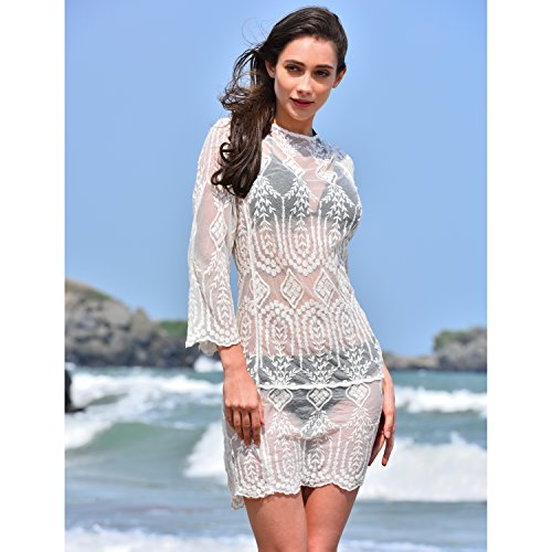 bd4d7f48f MG Collection® White Lace Sheer Long Sleeve Beach Swimsuit Cover Up