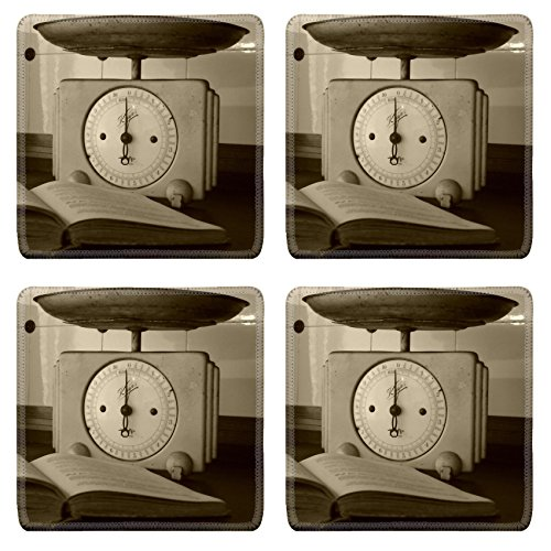 Luxlady Square Coasters Horizontal Kitchen Scale Antique Natural Rubber Material Image 477492 (Old Kitchen Scale compare prices)