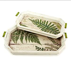 Two 39 S Company Ferns Decorative Trays With