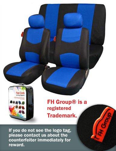 Fh-Fb050112 Flat Cloth Car Seat Covers Blue / Black Color front-859386