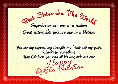 Rakhi Gift For Sister From Brother Festival Certificate Award The Best In World Make Your Beloved Feel Super Special With This