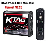 NEWEST KESS V2.47 5.017 V2 KESS V5.017 K-TAG 7.020 K TAG 7.020 V2.25 4LED Red EU Online LED BDM Frame ECU Tool 9 ECU SW Gift (KTAG 4LED Main Unit) (Color: KTAG 4LED Main Unit)