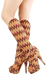 Eloisa Zig Zag Peep Toe Knee High Boots BROWN MULTI