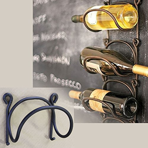 Wrought Iron Wine Bottle Rack Modular Wall Mounted Black Premium Quality 8.5mm Thick Iron by Rack and Hook (Wine Bottle Rack Mounted compare prices)