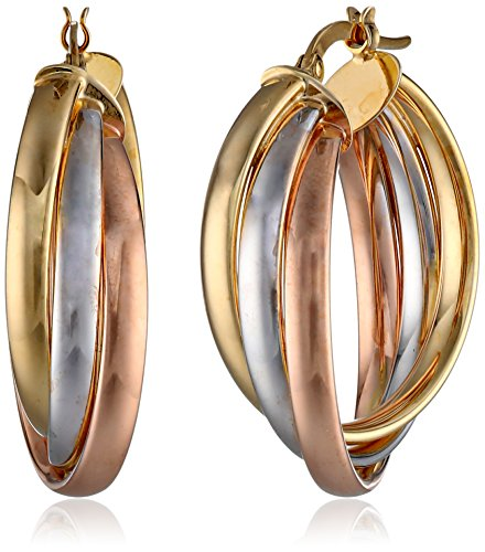 14K Tri-Color Italian Yellow, White And Rose Gold High Polish Triple Row Interlaced Hoop Earrings