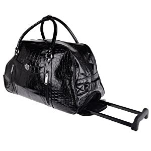 Ladies Lydc Mock Croc Wheeled Holdall Black by LYDC