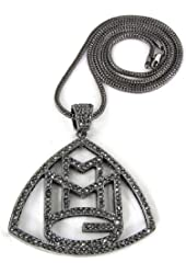 """ICED OUT HEMATITE BLACK RICK ROSS MMG PENDANT & 36"""" FRANCO NECKLACE CHAIN"""