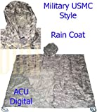 Military USMC Style Poncho Rain Coat Water resistant ACU Digital Color