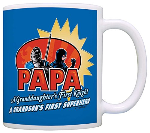 [Fathers Day Gifts for Grandpa Papa First Knight First Superhero Comics Gift Coffee Mug Tea Cup Blue] (Easy To Make At Home Superhero Costumes)