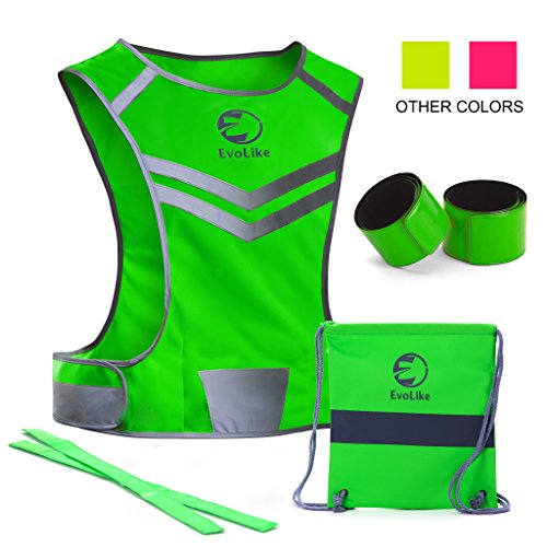 Original Reflective Vest of Unique Design for Running Walking Cycling Jogging Motorcycle + 4 High Visibility Wristbands + Bag (Fluorescent Green, Size L/XL)