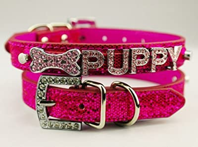 Kpmall Dog Puppy Leather Collars,Personalized Name Customized