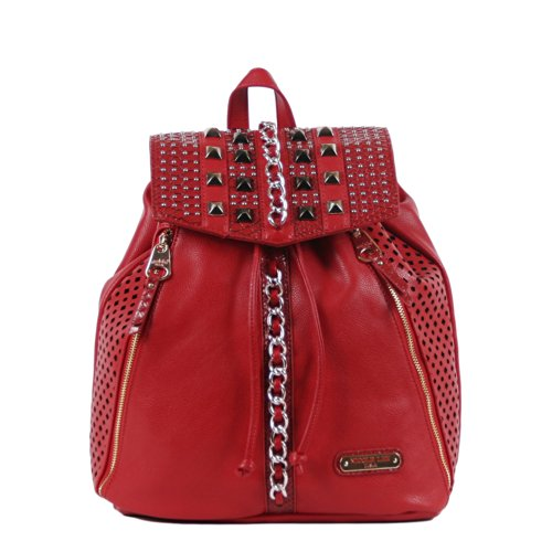 Nicole Lee Chanelle Chain and Stud Embellished Backpack, Red, One Size
