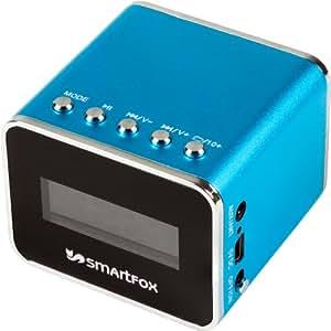 Smartfox Mini MP3-Player tragbarer Lautsprecher mit Radio, integriertem Akku und LCD-Display für alle Geräte mit 3,5mm Anschluss, blau