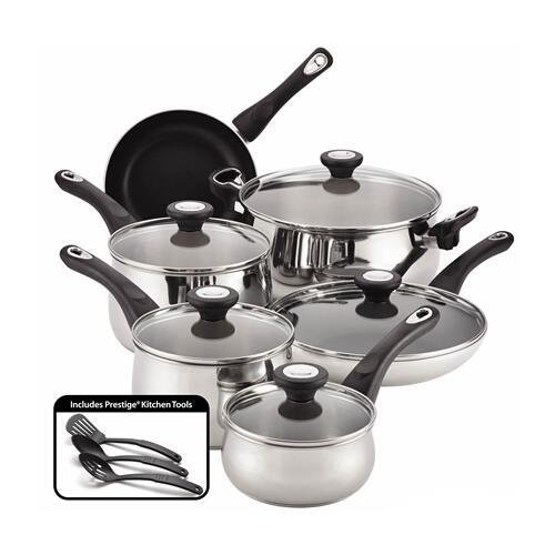 Farberware 78649 New Traditions Stainless Steel 14-Piece Cookware Set (Farberware 3 Quart Saucepan compare prices)