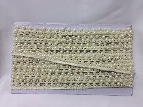 Inhika 9.8yd lace border trim, 1 row offwhite small n big pearls on offwhite base