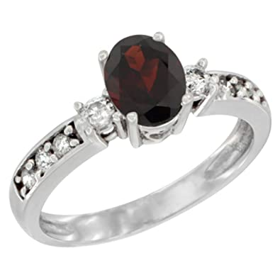 Revoni 14ct White Gold Natural Garnet Ring Oval 7x5 mm Diamond Accent