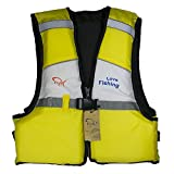 FISH ライフジャケット フローティングベスト ライフベスト 子供用  股ベルト付き 調整可能 釣り マリンスポーツ イエロー
