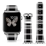 Iwatch Band Leather 42mm,Apple Watch Strap Genuine Leather Replacement 42mm White Black Fun Creative Special Cool...