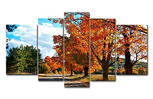 5 Piece Wall Art Painting Country Road Autumn Two Side Of Road Are Trees Maple Pictures Prints On Canvas Landscape The Picture Decor Oil For Home Modern Decoration Print For Girls Room