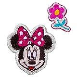 ミノダ ミニーマウスおしゃれワッペン小 アイロン・シール両用 スマイル-小 D01Y5947