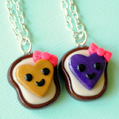 Handmade Heart Peanut Butter and Jelly Best Friends Necklaces with Bows