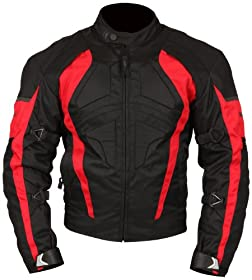 Milano Sport Gamma Motorcycle Jacket with Red Accent (Black, XXX-Large)