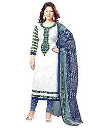 RR Fashion Women's Cotton Unstitched Dress Material (WHITE-R_WHITE)