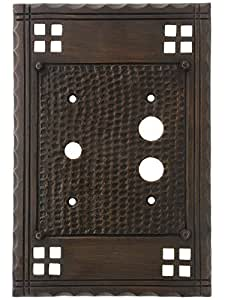 arts and crafts push button rotary dimmer combination switch plate in oil rubbed bronze light. Black Bedroom Furniture Sets. Home Design Ideas