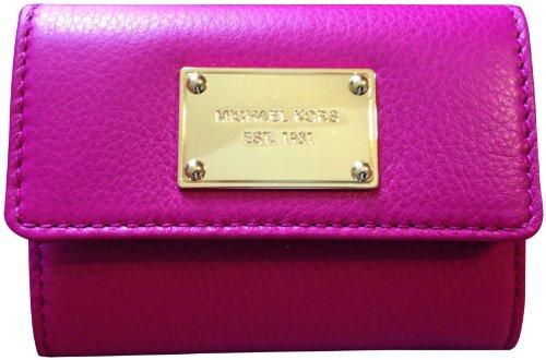 Michael Kors Genuine Leather Flap Coin Purse Wallet Fuschia Pink