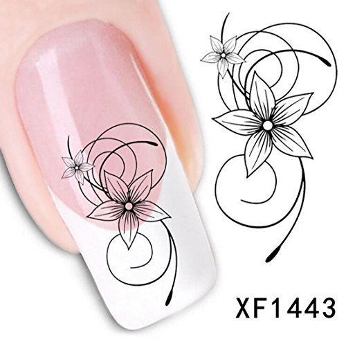 Decals Tips Art Water Transfer 3D Decoration Black Flower Nail Stickers Style XF1443 (Nail Stickers Numbers compare prices)