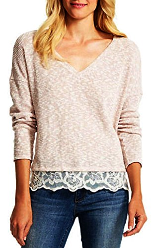 Jessica Simpson Quinn Lace-Trim Marled Pullover Sweater