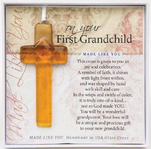 On Your First Grandchild Keepsake Glass Cross Gift for New Grandparents - 1