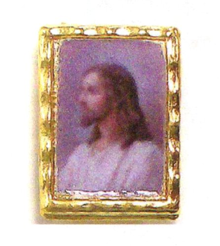 Lapel Pin - Sacred Heart of Jesus - Clear Covering - Exclusively from the Studios of Cromo NB (Milano, Italy)