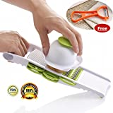 Multi Mandoline Vegetable Slicer & Grater Kitchen Set - Comes with Food Holder, Fruit Peeler and 5 Stainless Steel Blades - Thin Julienne Slicer, Cutter, Waffle Slicer and Shredder All in 1 - Best Hand-held Easy Chip for Potato Chips, Tomato, Carrot, Radish, Cucumber, Wire Cheese, Lime, Onion