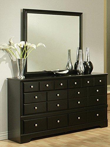 Sandberg Furniture Elena 6-Drawer Dresser with Mirror, Black (Extra Large Dresser compare prices)