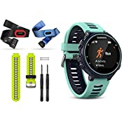 Garmin Forerunner 735XT GPS Running Watch Tri-Bundle With Yellow Band Midnight Blue