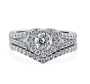 Pretty Jewellery White Gold Over Sterling Silver Round Diamond Twist Engagement Weddding Bridal Ring Set (7)