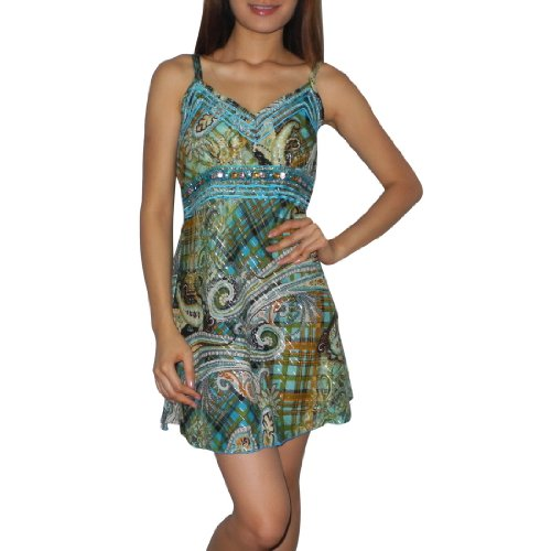 Womens Thai Exotic Sexy Sleeveless Spaghetti Straps Fitted Dress - Size: M-L