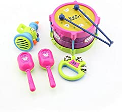 eMyloreg Baby Educational Musical Instruments Toy Set Drums Handbell Trumpet Cabasa Pack of 5