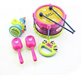 E Mylo Baby Educational Musical Instruments Toy Set Drums Handbell Trumpet Cabasa Pack Of 5