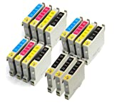 Odyssey Supplies - Compatible ink cartridges for Epson SX425W, Stylus Office BX305F, BX305FW, BX305FW Plus, Stylus S22, SX125, SX130, SX235W, SX420W, SX425W, SX435W, SX438W, SX445W - Latest Version Double Capacity Inks (15 pack (3 sets + 3 black))
