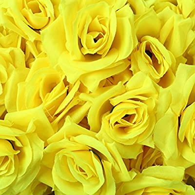 Dream ローズ バラ 造花 アレンジ 8センチ 手作り 50個 セット 結婚式 2次会 パーティー お祝い ブーケ (黄色 イエロー)DR058