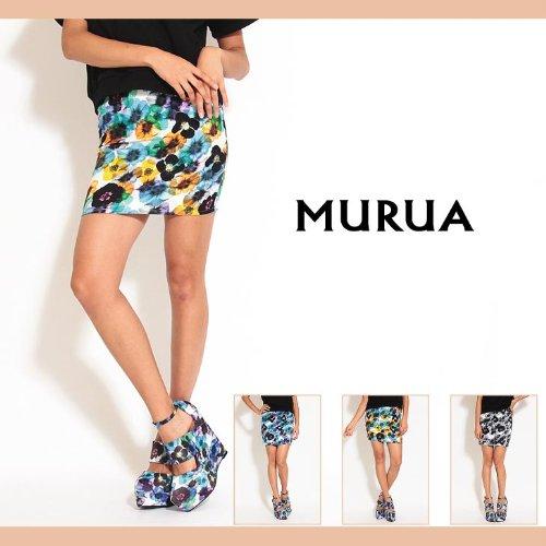 【MURUA(ムルーア)】シャドーフラワータイトスカート 2(M)サイズ ブラック(09)