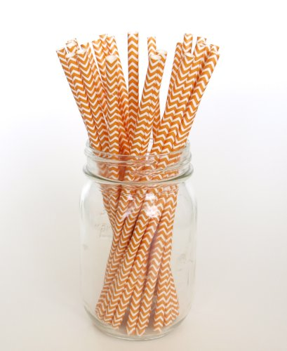 Orange Chevron Striped Straws - 25 - Easy Party Favors For Hostesses, Caterers, Moms & Businesses front-889032