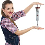 """Dulcifluous Wind Chime 18"""" - Six Silver Aluminium Solid Tubes - Wood Top and Clapper - Crystal Wind Catcher"""