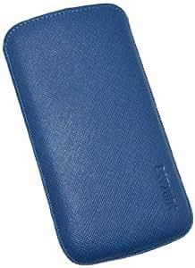 Suncase Original Echt Ledertasche mit Rückzugfunktion für Samsung Galaxy S4 i9505 vollnarbig-blau