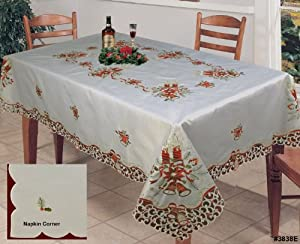 Holiday christmas embroidered red poinsettia for Table 70x140