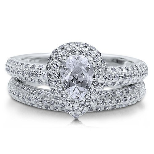 Sterling Silver 925 Pear Cubic Zirconia CZ Solitaire 2Pcs Ring Set - Nickel Free Engagement Wedding Ring Set Size 4
