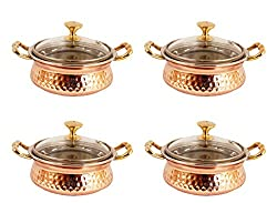 IndianArtVilla 3.0 X 5.0 X 2.0 Handmade High Quality Stainless Steel Copper Casserole Dish Serving Indian Food Daal Curry Set of 4 Handi Bowl With Glass Tumbler Lid Capacity 400 ML for use RestaurantGift Item