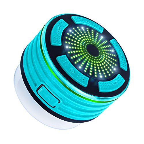 IPX7-Wasserdicht-Bluetooth-LautsprecherExpower-Tragbarer-Outdoor-Lautsprecher-mit-5W-Stereo-Subwoofer-und-Saugnapf-Led-Bluetooth-40-Mini-Lautsprecher-FM-Radio-fr-BadezimmerStrndeSchwimmbder